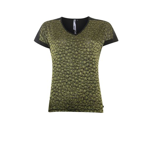 Poools ladieswear blouses & tunics - t-shirt woven front. available in size 42,46 (olive)