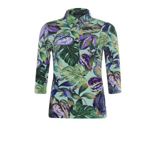 Roberto Sarto dameskleding t-shirts & tops - polo t-shirt met driekwart mouw. beschikbaar in maat 38,40,42,44,46,48 (groen,multicolor,olijf)