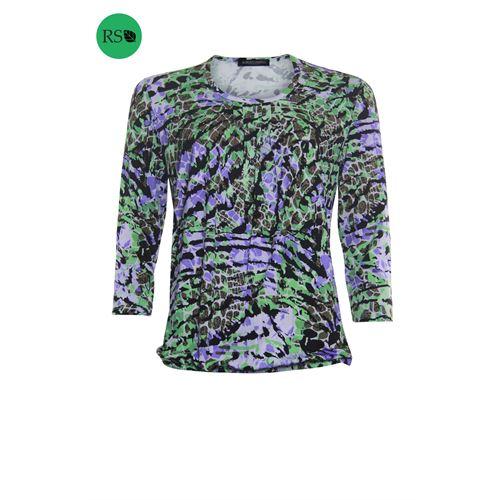 Roberto Sarto dameskleding t-shirts & tops - blouson met ronde hals. beschikbaar in maat 38,40,42,44,46,48 (groen,multicolor)