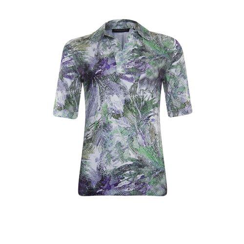 Roberto Sarto dameskleding t-shirts & tops - t-shirt polo met print. beschikbaar in maat 40,42,46,48 (ecru,groen,multicolor)