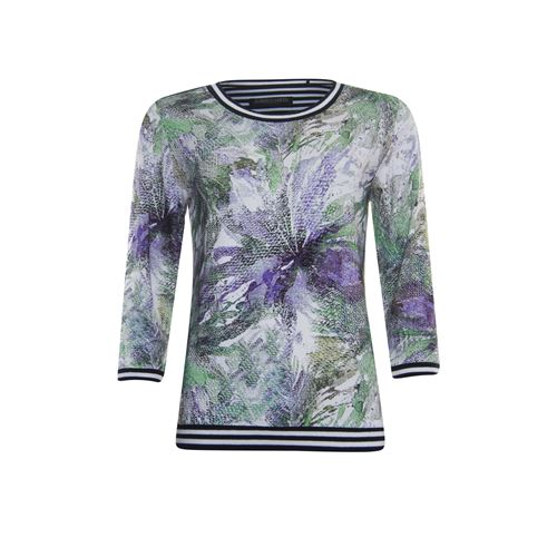 Roberto Sarto dameskleding t-shirts & tops - t-shirt ronde hals 3/4 mouw. beschikbaar in maat 38,40,42,44,46,48 (ecru,groen,multicolor)