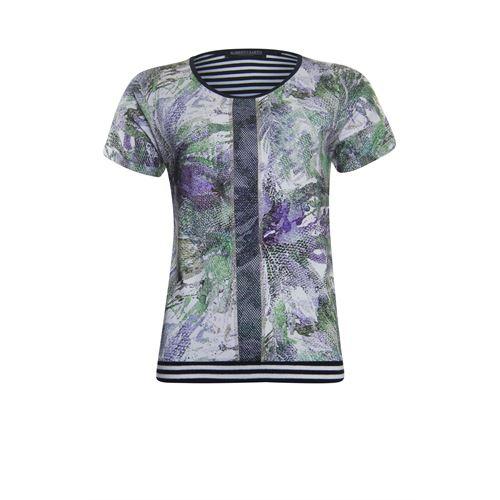 Roberto Sarto dameskleding t-shirts & tops - blouson met ronde hals. beschikbaar in maat 38,40,42,44,46,48 (ecru,groen,multicolor)
