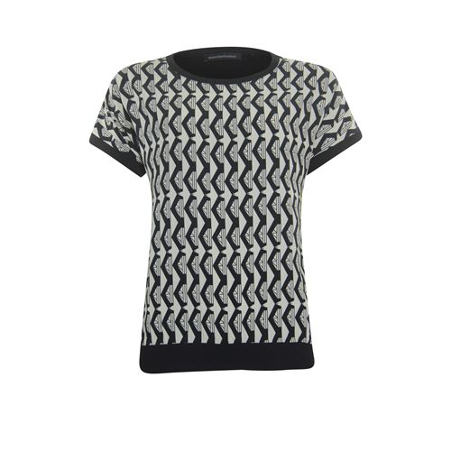 Anotherwoman dameskleding t-shirts & tops - t-shirt ronde hals. beschikbaar in maat 36,38,40,44,46 (ecru,multicolor,zwart)