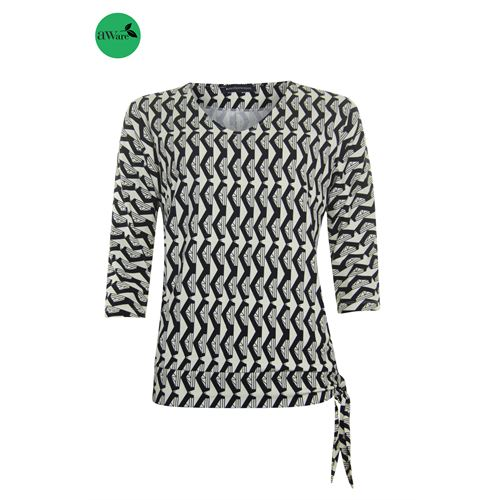 Anotherwoman dameskleding t-shirts & tops - t-shirt v-hals. beschikbaar in maat 36,38,40,42,44 (ecru,multicolor,zwart)