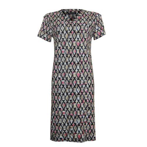 Anotherwoman dameskleding jurken - jurk met v-hals. beschikbaar in maat 36,38,40,42,44,46 (bruin,multicolor,rood,zwart)