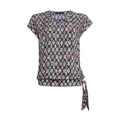 Anotherwoman dameskleding t-shirts & tops - t-shirt met strik. beschikbaar in maat 38,40,42,44 (bruin,multicolor,rood,zwart)