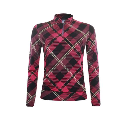 Roberto Sarto ladieswear t-shirts & tops - blouson o-neck with slit, printed, l/s. available in size 38,40,42,44,46,48 (black,multicolor,pink)