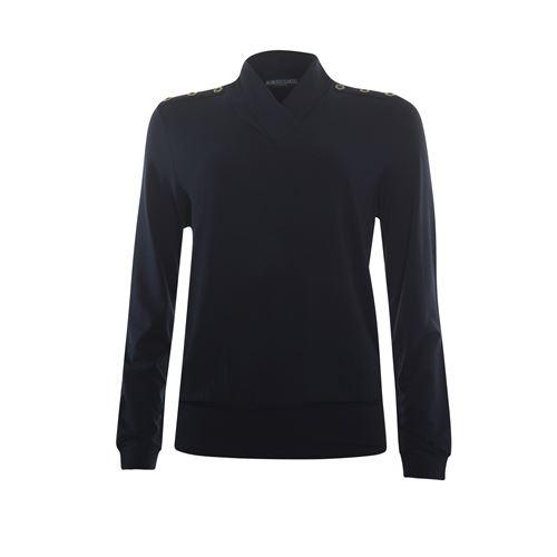 Roberto Sarto ladieswear t-shirts & tops - blouson underborder v-neck t-shirt. available in size 48 (blue)