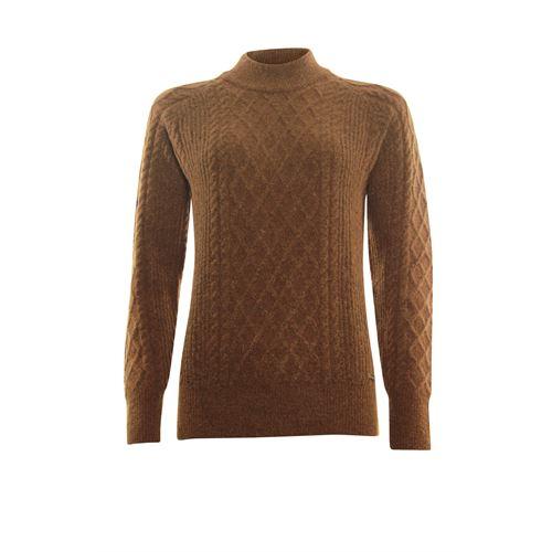 Roberto Sarto dameskleding truien & vesten - kabeltrui opstaande hals. beschikbaar in maat 46 (bruin)