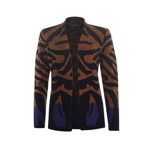 Roberto Sarto dameskleding truien & vesten - openvallendl vest in dessin. beschikbaar in maat 38,40,44,46 (bruin,multicolor,zwart)