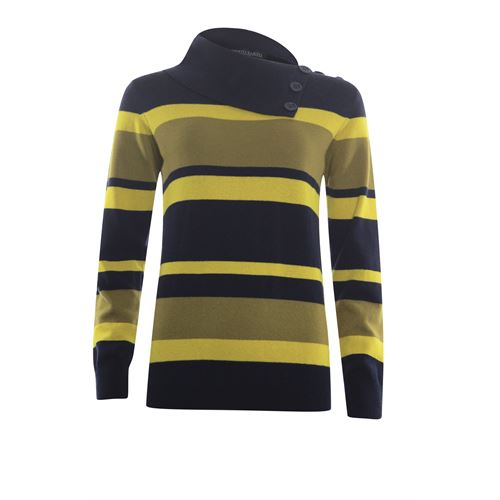 Roberto Sarto ladieswear pullovers & vests - pullover striped  split collar with buttons. available in size 38,40,42,46,48 (blue,multicolor,yellow)