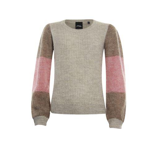 Poools dameskleding truien & vesten - trui contrast mouw. beschikbaar in maat 36,38,40,42,44,46 (ecru)