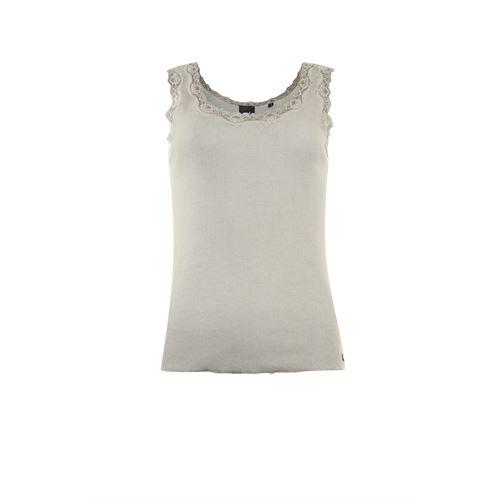 Poools dameskleding t-shirts & tops - top rib met kant. beschikbaar in maat 42 (ecru)