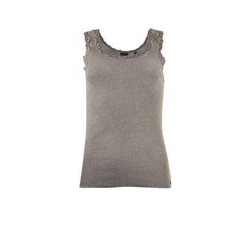 Poools dameskleding t-shirts & tops - top rib met kant. beschikbaar in maat 36,38,40,42,44,46 (bruin)