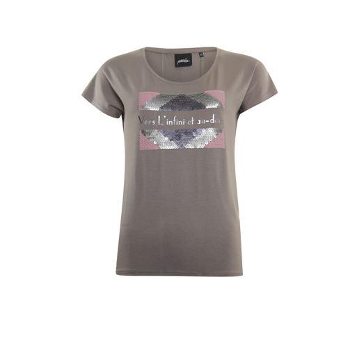 Poools dameskleding t-shirts & tops - t-shirt pailletten. beschikbaar in maat 36,38,40,42,44,46 (bruin)