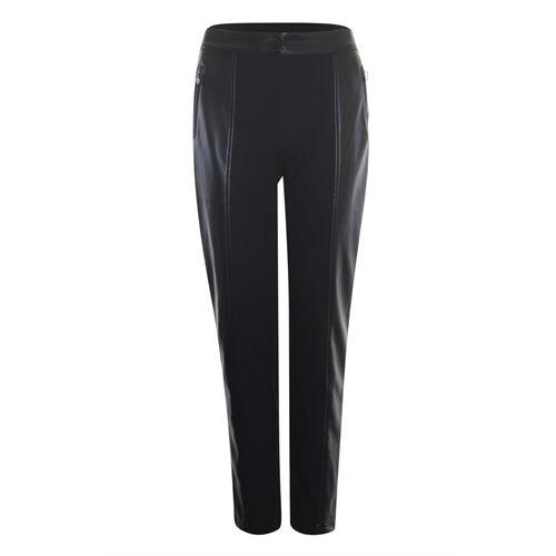 Poools dameskleding broeken - pant with pu. beschikbaar in maat 38,40,42,44,46 (zwart)