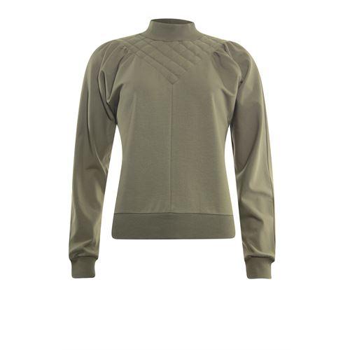 Poools dameskleding truien & vesten - sweater gestept. beschikbaar in maat 36,38,40,42,44,46 (olijf)
