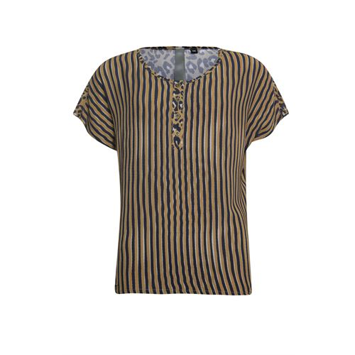 Poools ladieswear blouses & tunics -  Blouse striped. Available in size 36,38,40,46 (blue,brown,multicolor)