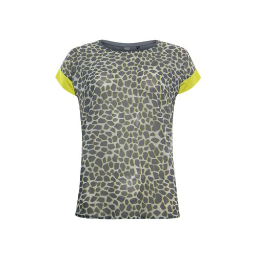Poools ladieswear t-shirts & tops -  T-shirt print front. Available in size 40,42,44 (grey,multicolor,off-white,yellow)